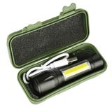 Mini taktická nabíjateľná ZOOM baterka duo XPE+COB LED