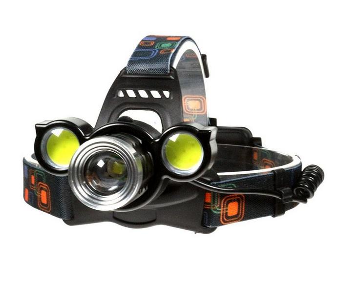 ecd6b1ce8 Nabíjateľná čelovka so zoomom a 3 LED 1x XML T6 + 2x COB LED ...