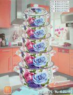 10-dielna kvetinová sada smaltových hrncov modro-fialová