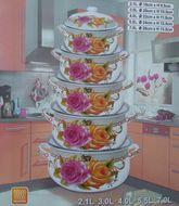 10-dielna kvetinová sada smaltových hrncov ružovo-oranžová