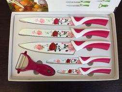6-dielna sada nožov s antiadhéznym povrchom červená ruža
