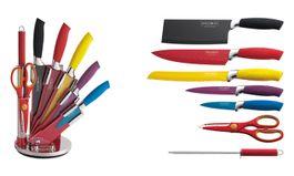 8-dielna sada farebných nožov s nelepivým-antiadhéznym povrchom