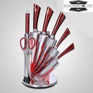 8-dielna sada nerezových nožov so stojanom Berghome Line red