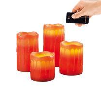 Adventné LED sviečky z pravého vosku s diaľkovým ovládaním - červené