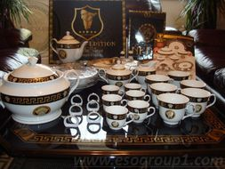DA VINCI GOLD VERSACE - Luxusný porcelánový 57 dielny set black