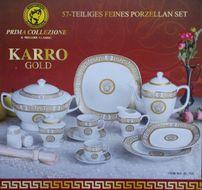 DA VINCI GOLD VERSACE - Luxusný porcelánový 57 dielny set gold