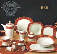 DA VINCI GOLD VERSACE - Luxusný porcelánový 57 dielny set red