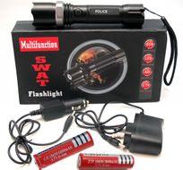 SWAT POLICE LED xenon-taktická nabíjateľná policajná baterka + 2 akumulátory Flashlight