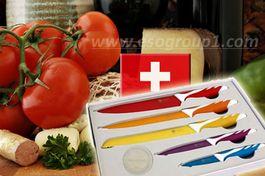 ROYALTY LINE SWITZERLAND - super sada 5 farebných nožov s nelepivým-antiadhéznym povrchom