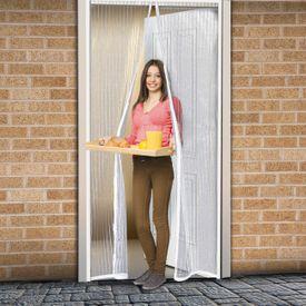 Magnetická sieťka na dvere 210 cm snehovo-biela