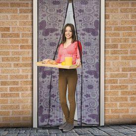 Magnetická sieťka na dvere 210 cm fialové motýle