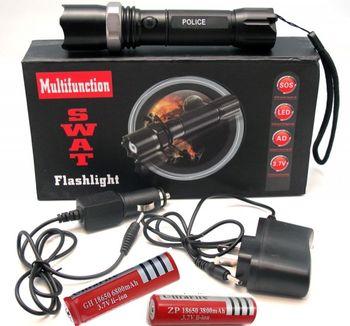 POLICE LED xenon-taktická nabíjateľná policajná baterka+2 akumulátory