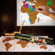 Veľká stieracia mapa sveta-zlatobiela-88x55 cm